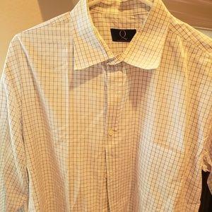 Men's Custom Clothier Blue & White Dress Shirt